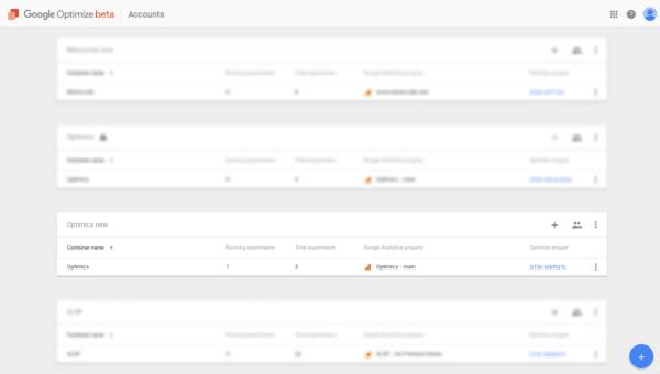 Účty a kontejnery v Google Optimize