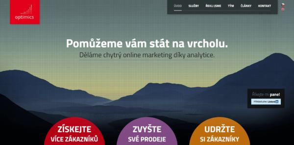 Homepage našeho webu s LinkedIn tlačítkem