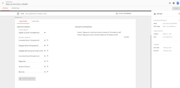 Cíle z Google Analytics jsou automaticky k dispizici i v Google Optimize