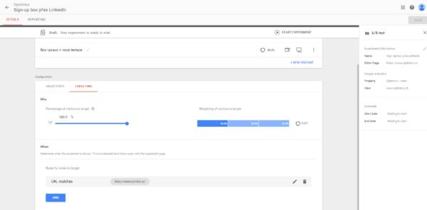 Náš A/B test zacílíme na 100 % provozu a uživatelům se zobrazí na homepage
