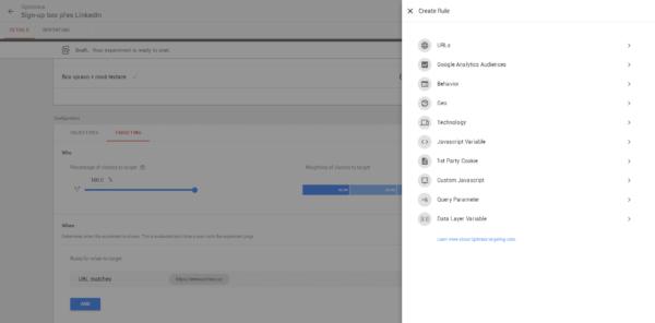 Kritérií pro zacílení A/B testu nám Google Optimize nabízí hned několik, včetně GA publika